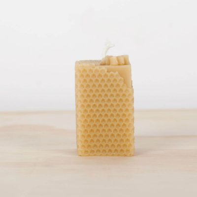 Square Bee Block 01 100% Pure Beeswax Candle